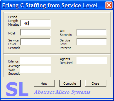 SL Calculator: Erlang C Staffing from Service Level